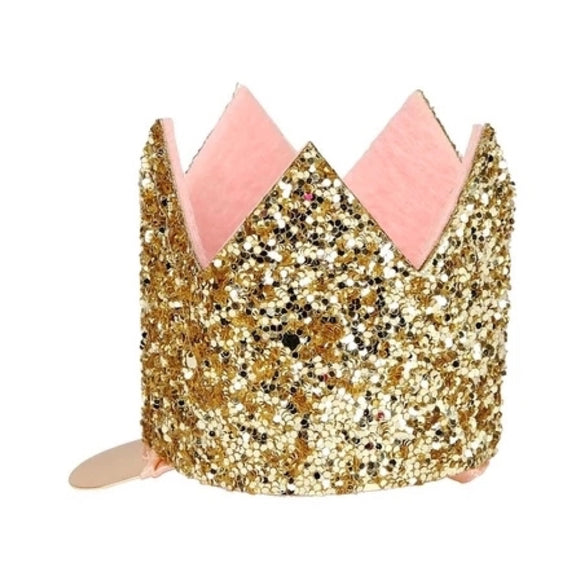 Hair Clip - Mini Gold Glitter Crown - MeMe Antenna