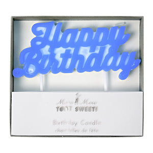 Candle - Happy Birthday Blue Neon - MeMe Antenna