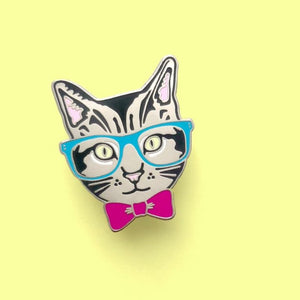 Enamel Pin : FANCY SEEING YOU HERE - Nerd Cat - MeMe Antenna