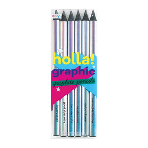 holla! graphic graphite pencils - chunky - set of 6 - MeMe Antenna