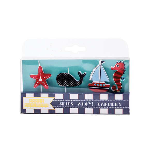 Candle Set - Ships Ahoy Decal Candles - MeMe Antenna
