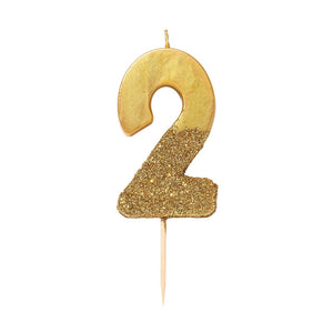 Candle - Gold Glitter Dipped Number Candle - Number 2 - MeMe Antenna