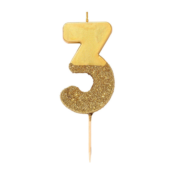 Candle - Gold Glitter Dipped Number Candle - Number 3 - MeMe Antenna