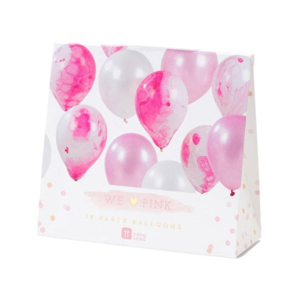 We Heart Pink Marble Effect Balloons - MeMe Antenna