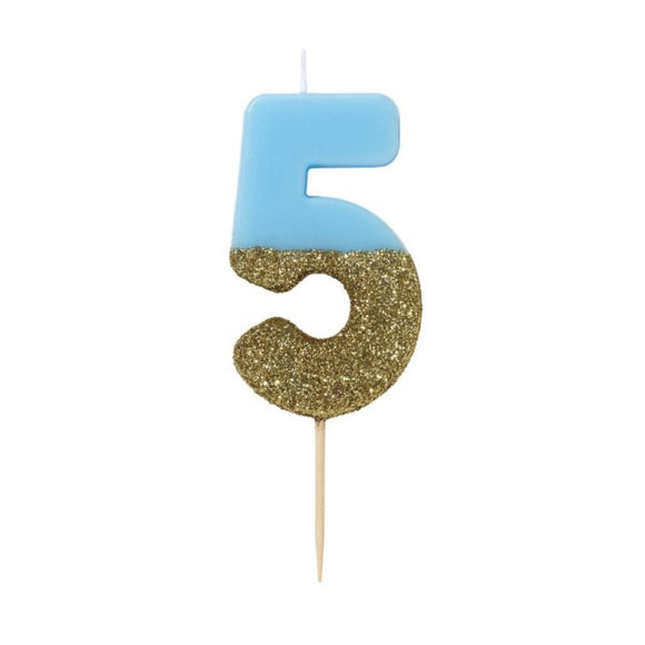Candle - We Heart Birthday Glitter Blue - Number 5 - MeMe Antenna