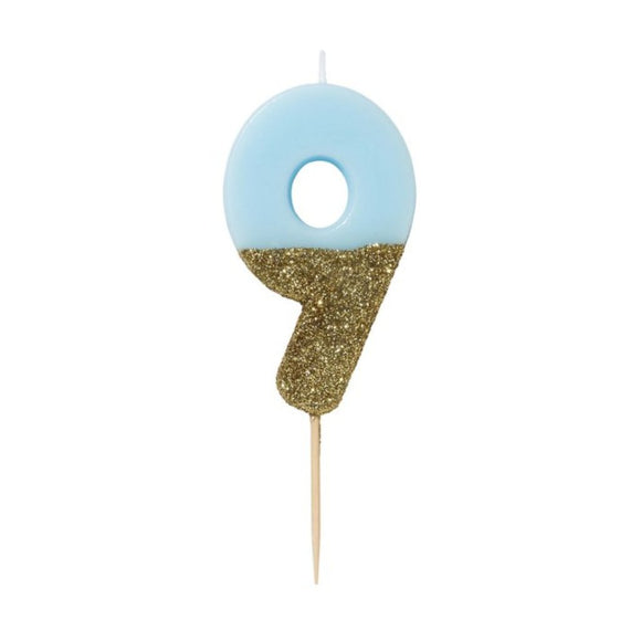 Candle - We Heart Birthday Glitter Blue - Number 9 - MeMe Antenna