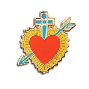 Enamel Pin : The Found - Sacred Heart with Cross - MeMe Antenna