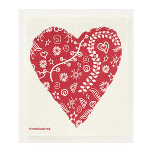 Swedish Dishcloth - Big Heart - MeMe Antenna