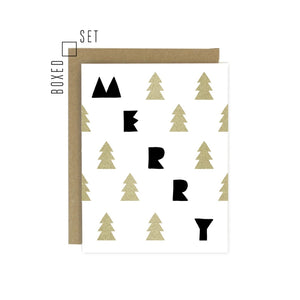 Holiday Greeting Card Set - Merry Trees box set of 6 - MeMe Antenna