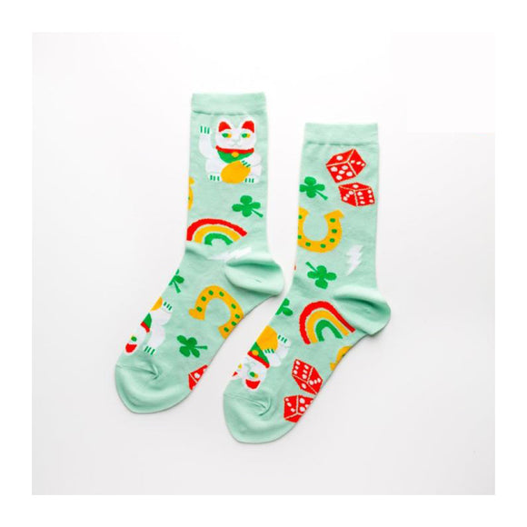 Socks - Lucky Cat & Clover - Women's - MeMe Antenna