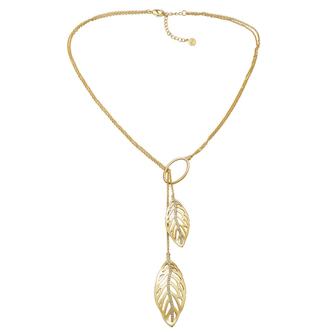 "18K YG Plated Brass ""Tierra Riviera"" Clear CZ Lariat Style Necklace"