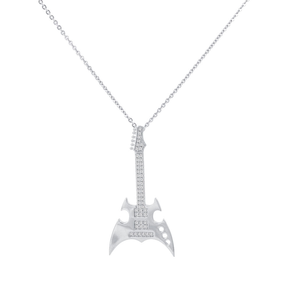 Electric Guitar Prong-set CZ's Sterling Silver Pendant Necklace