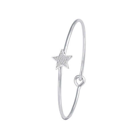 Star Prong-set CZ's Sterling Silver Bangle Bracelet