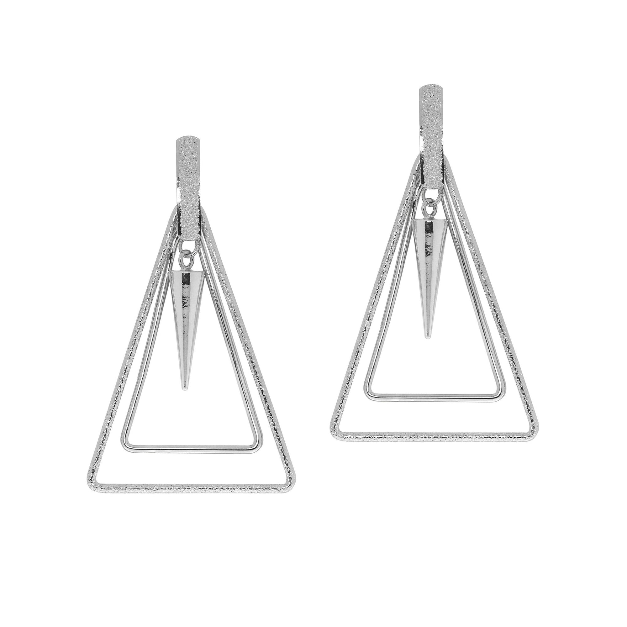 Triangle and Center Cone Drop Earrings