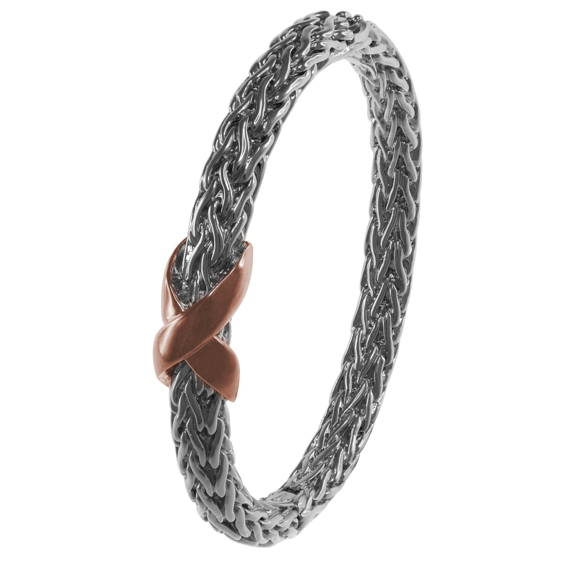 """Capital City"" Two-Tone Braided Metal ""X"" Design Hinged Bangle"