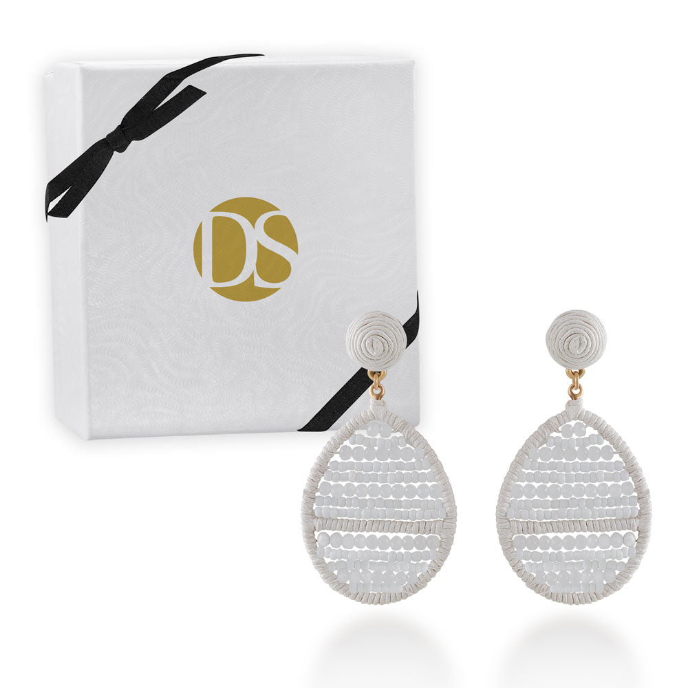 """Jardine"" Handmade Woven Crystal Beads Teardrop Earrings - White"
