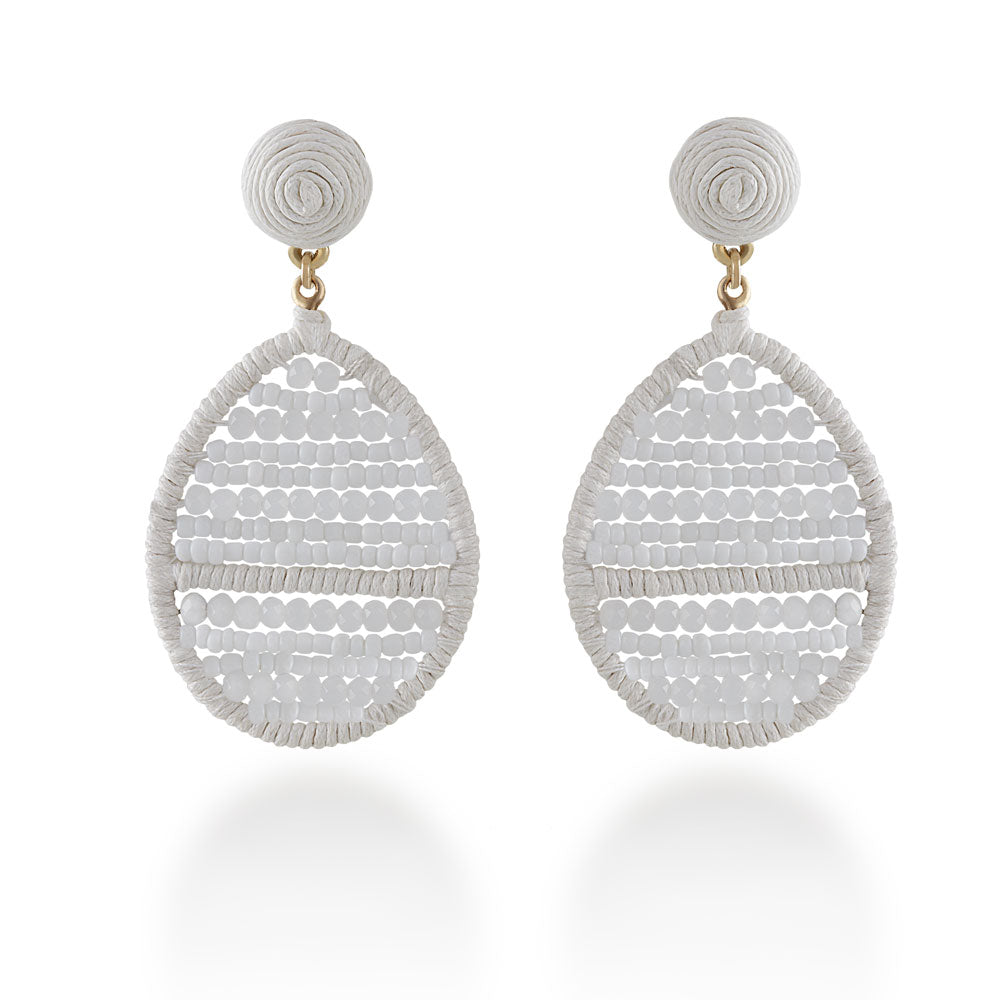 New Handmade White Woven Earrings Jewelry & Watches Earrings