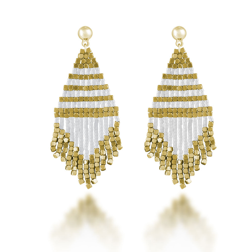 """Trillian"" Handcrafted Woven Beaded Drop Earrings - Gold/White"