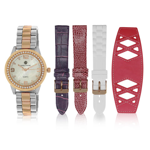 """Runway Watch"" Set, Two-Tone Rose Gold and Silver"