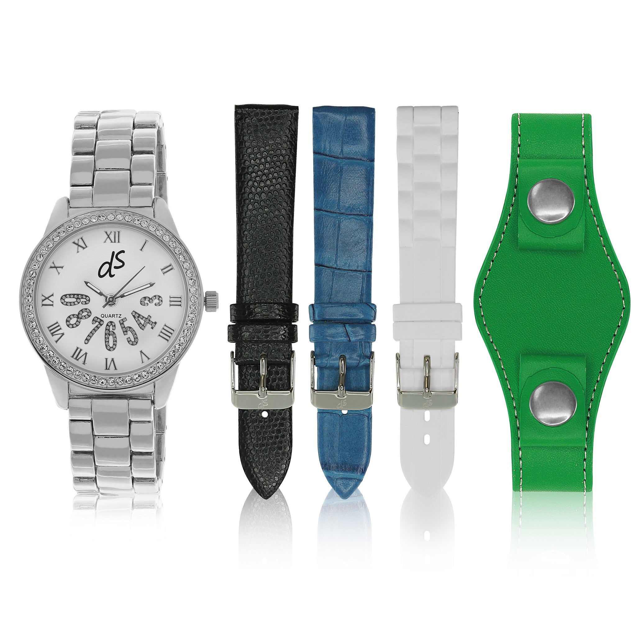 """Dani Watch"" Set, Silver Tone"