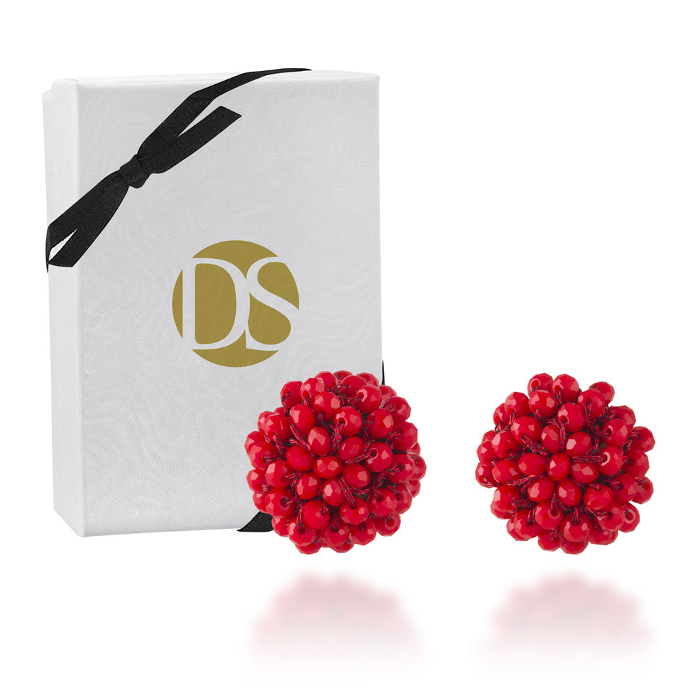 """Full Bloom"" Handcrafted Crochet Faceted Beaded Crystal Post Earrings - Coral Red"