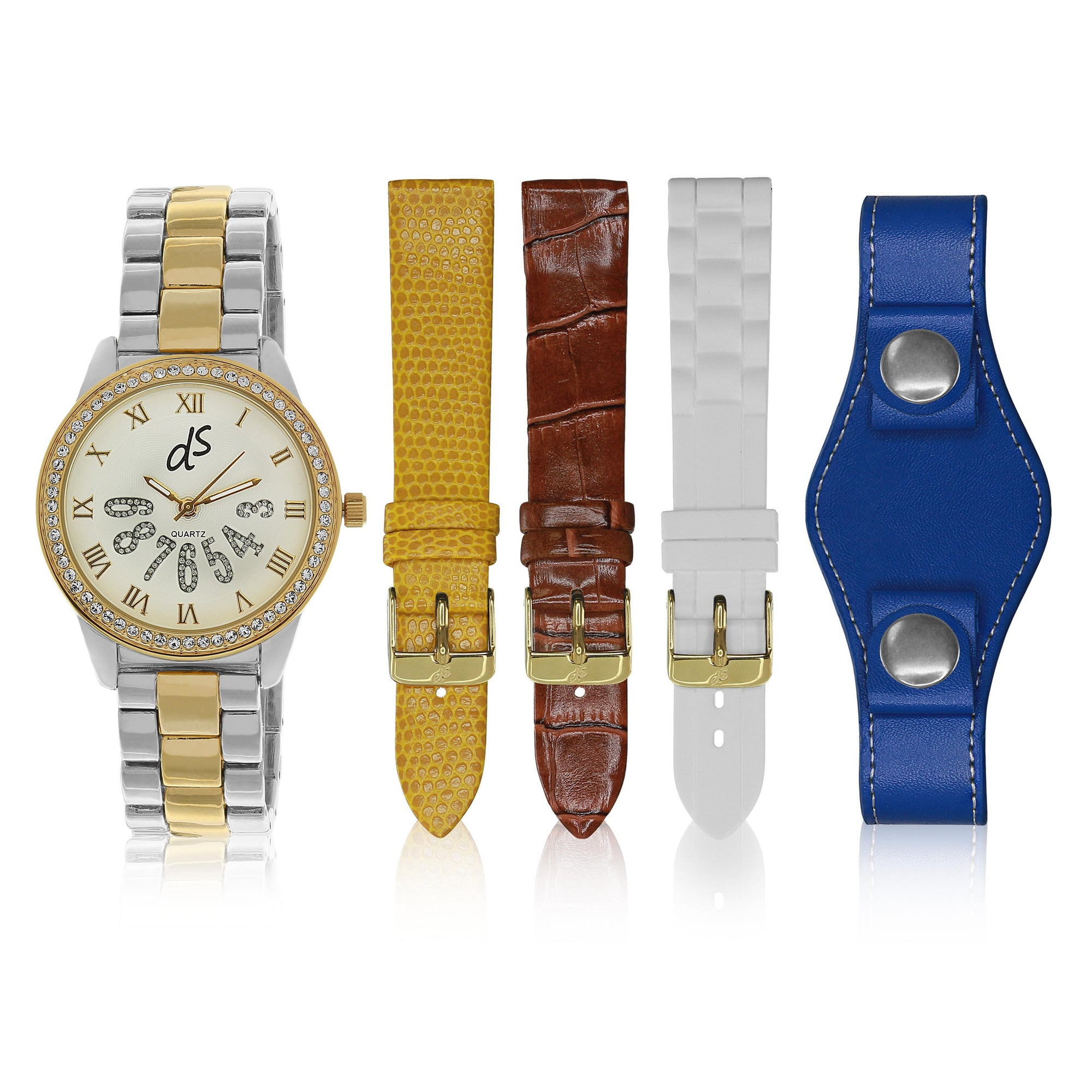 """Dani Watch"" Set, Two-Tone Yellow Gold and Silver"