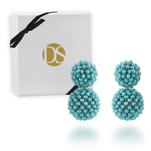 """Dangle Bloom"" Handcrafted Crochet Faceted Beaded Crystal Drop Earrings"