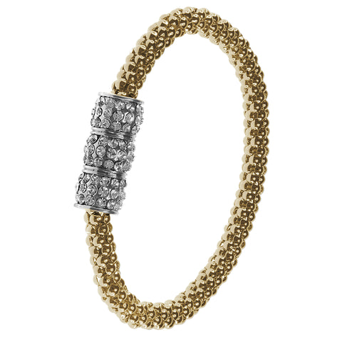 """Mid-Town Glow""  Crystal Embelished Stretch Mesh Bracelet"