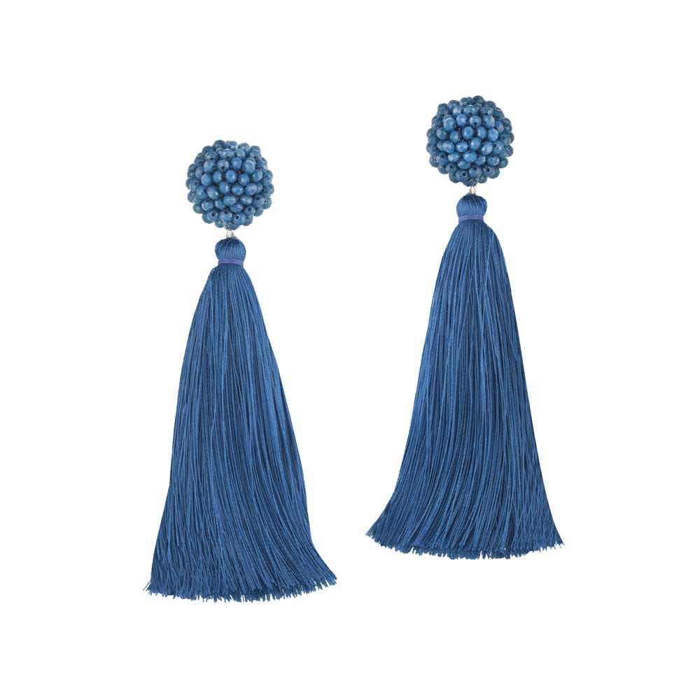 """Time to Bloom"" Handcrafted Crochet Faceted Beaded Crystal Tassel Earrings - Navy Blue"