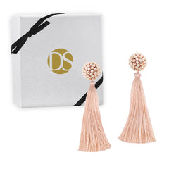 """Time to Bloom"" Handcrafted Crochet Faceted Beaded Crystal Tassel Earrings - Blush"