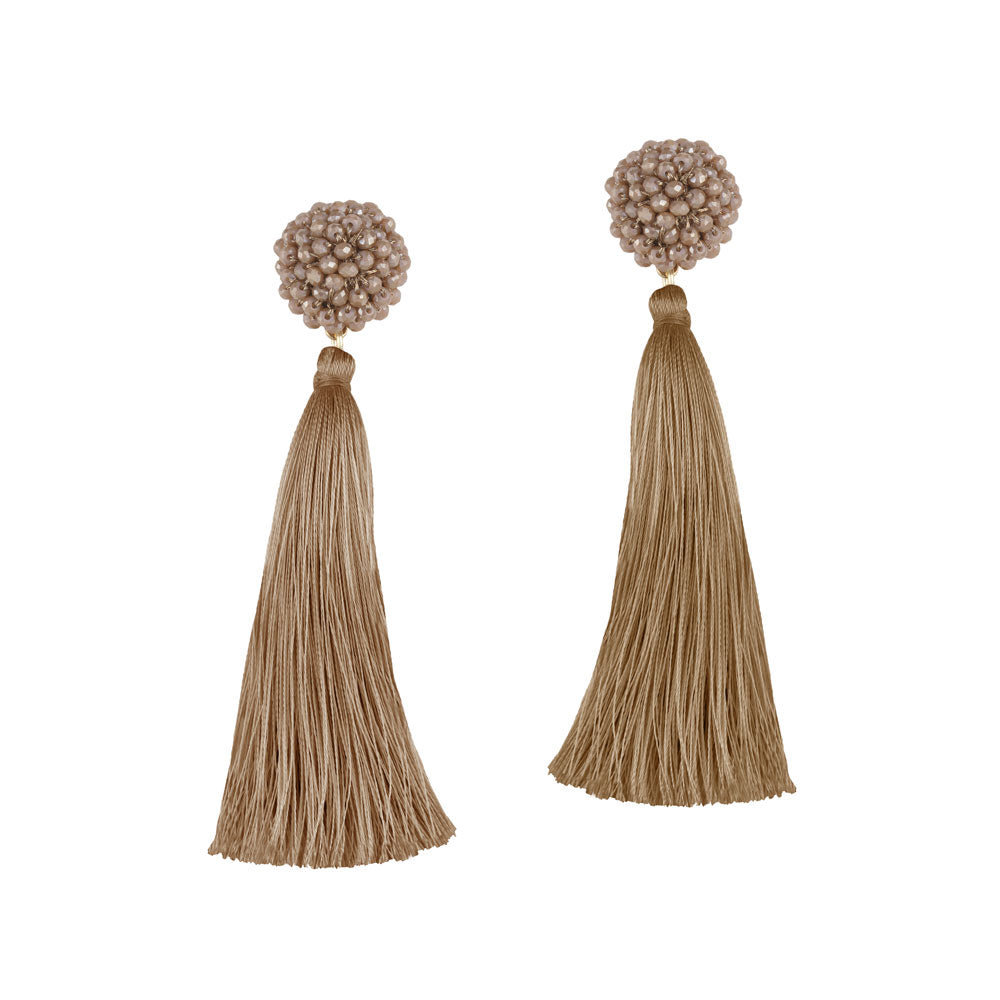 """Time to Bloom"" Handcrafted Crochet Faceted Beaded Crystal Tassel Earrings - Champagne"