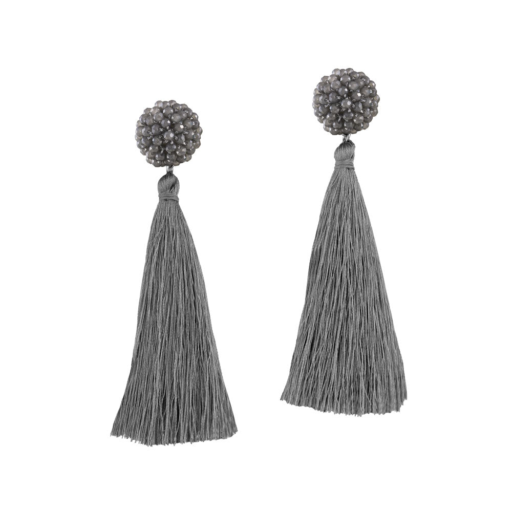 """Time to Bloom"" Handcrafted Crochet Faceted Beaded Crystal Tassel Earrings - Gray"