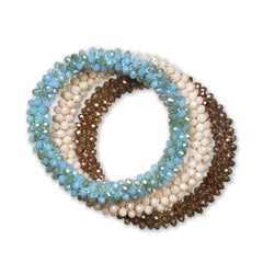 """Sets of Bloom"" 3 Handcrafted Faceted Crystal Beaded Stretch Bracelets - Cascade"