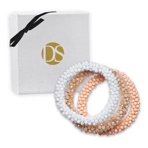 """Sets of Bloom"" 3 Handcrafted Faceted Crystal Beaded Stretch Bracelets - Sand"