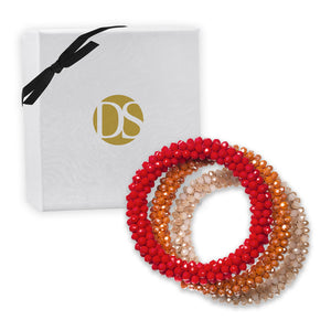 """Sets of Bloom"" 3 Handcrafted Faceted Crystal Beaded Stretch Bracelets - Sunset"