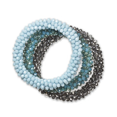 """Sets of Bloom"" 3 Handcrafted Faceted Crystal Beaded Stretch Bracelets - Daydream"