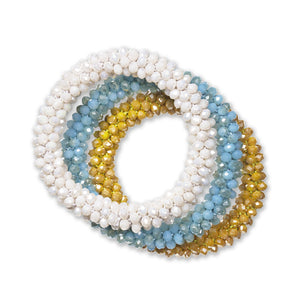"""Sets of Bloom"" 3 Handcrafted Faceted Crystal Beaded Stretch Bracelets - Santorini"