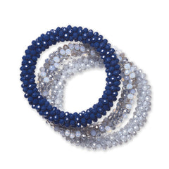 """Sets of Bloom"" 3 Handcrafted Faceted Crystal Beaded Stretch Bracelets - Denims"