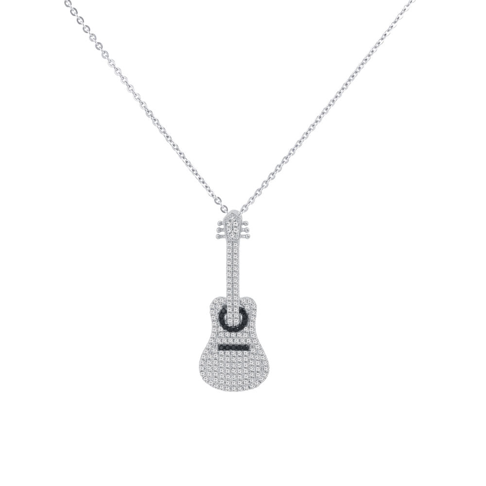 Classic Guitar Prong-set CZ's Sterling Silver Pendant Necklace
