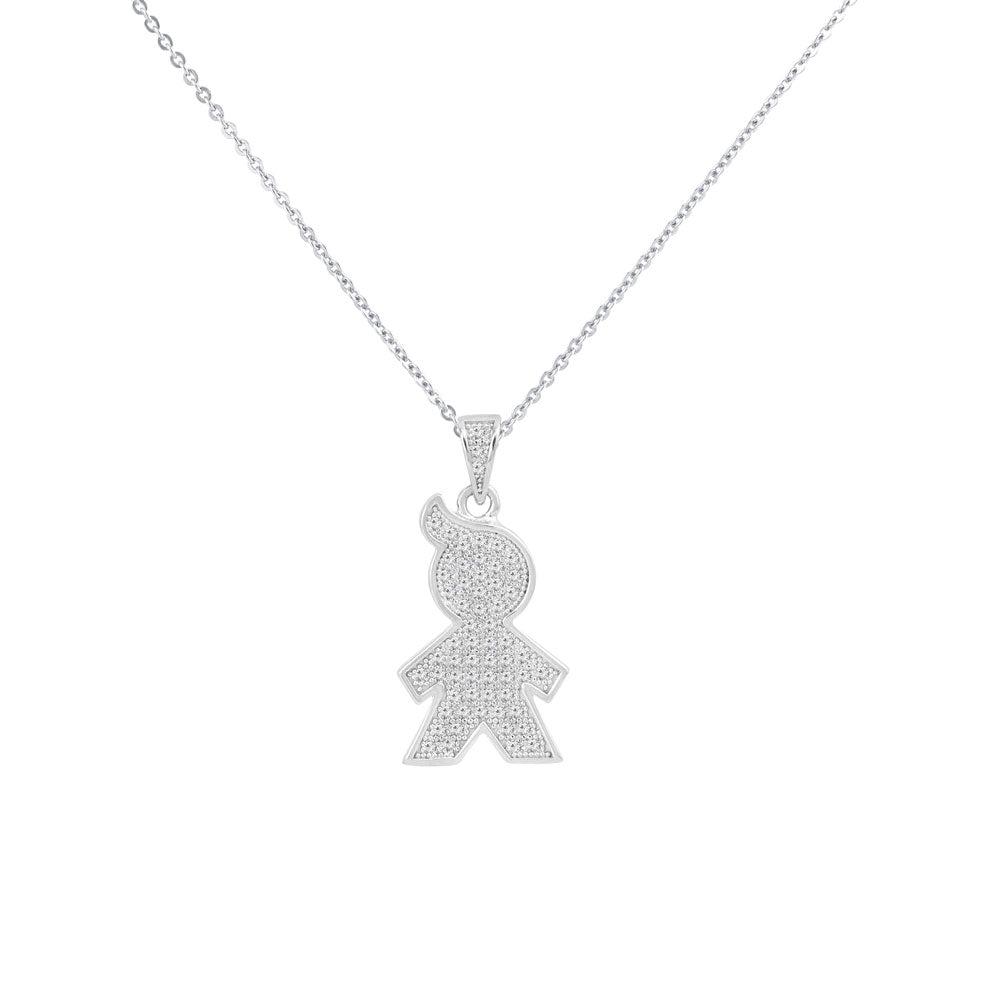 My Boy Prong-set CZ's  Sterling Silver Pendant Necklace