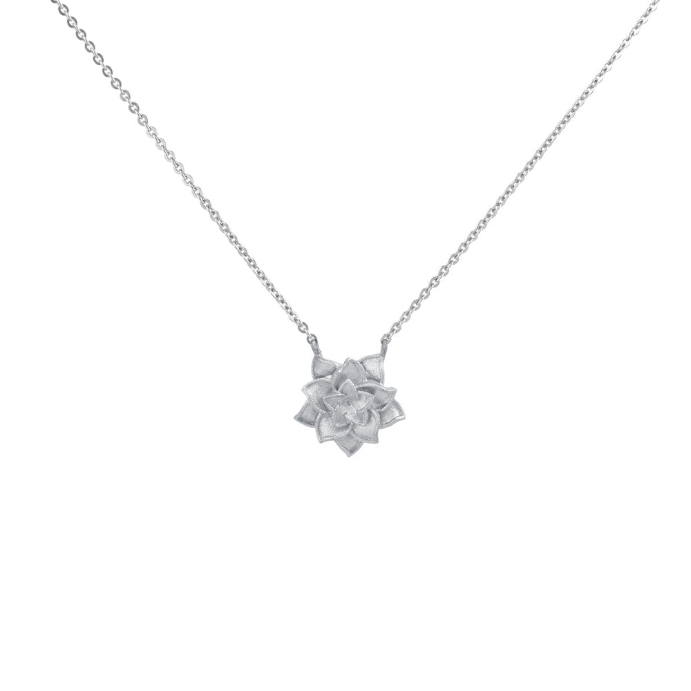 Delicate Lotus  Flower Sterling Silver Pendant Necklace
