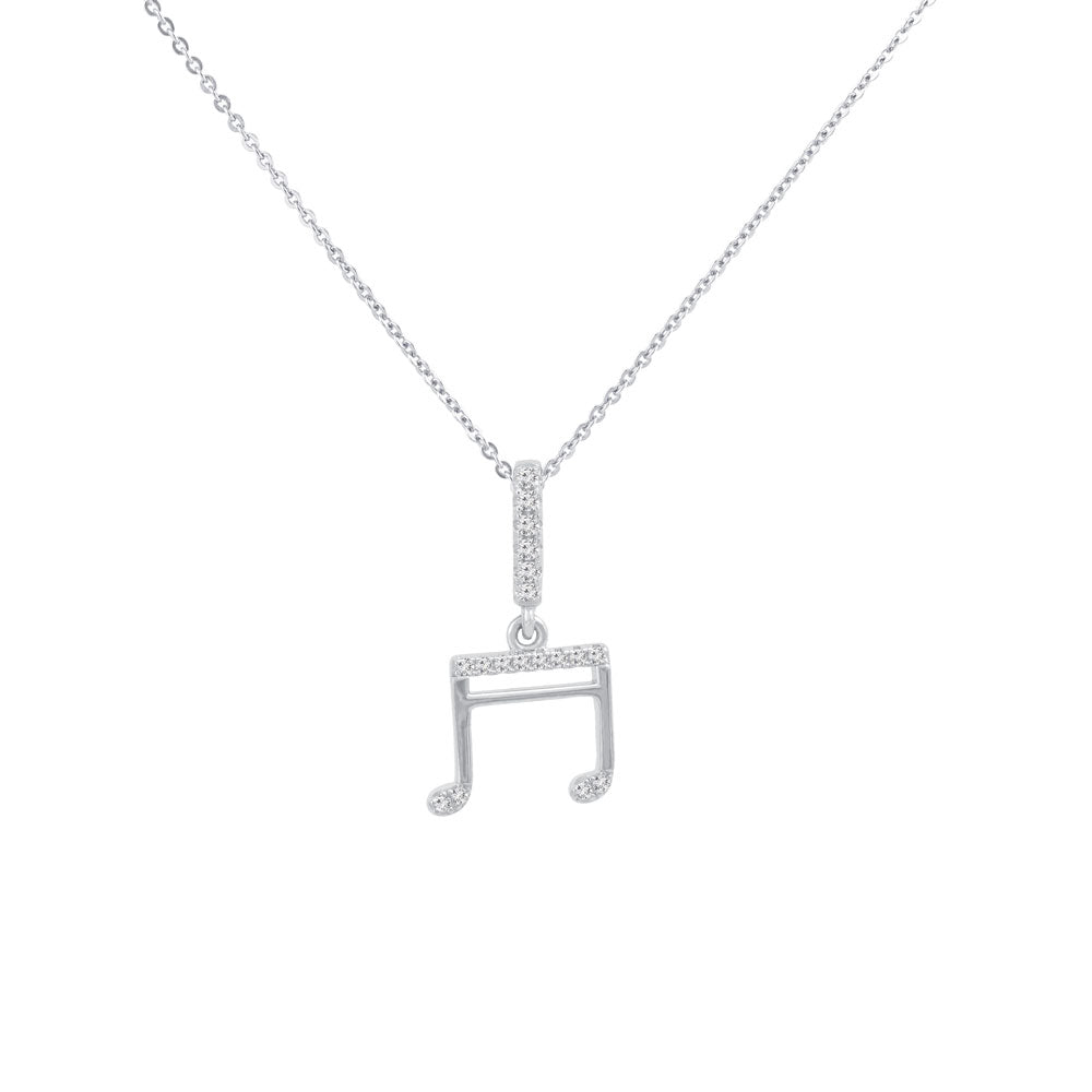Eighth Note Prong-set CZ's Sterling Silver Pendant Necklace