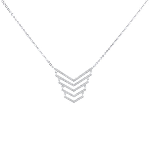 Tribal Prong-set CZ's  Sterling Silver Pendant Necklace