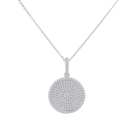 Round Prong-set CZ's  Sterling Silver Pendant Necklace