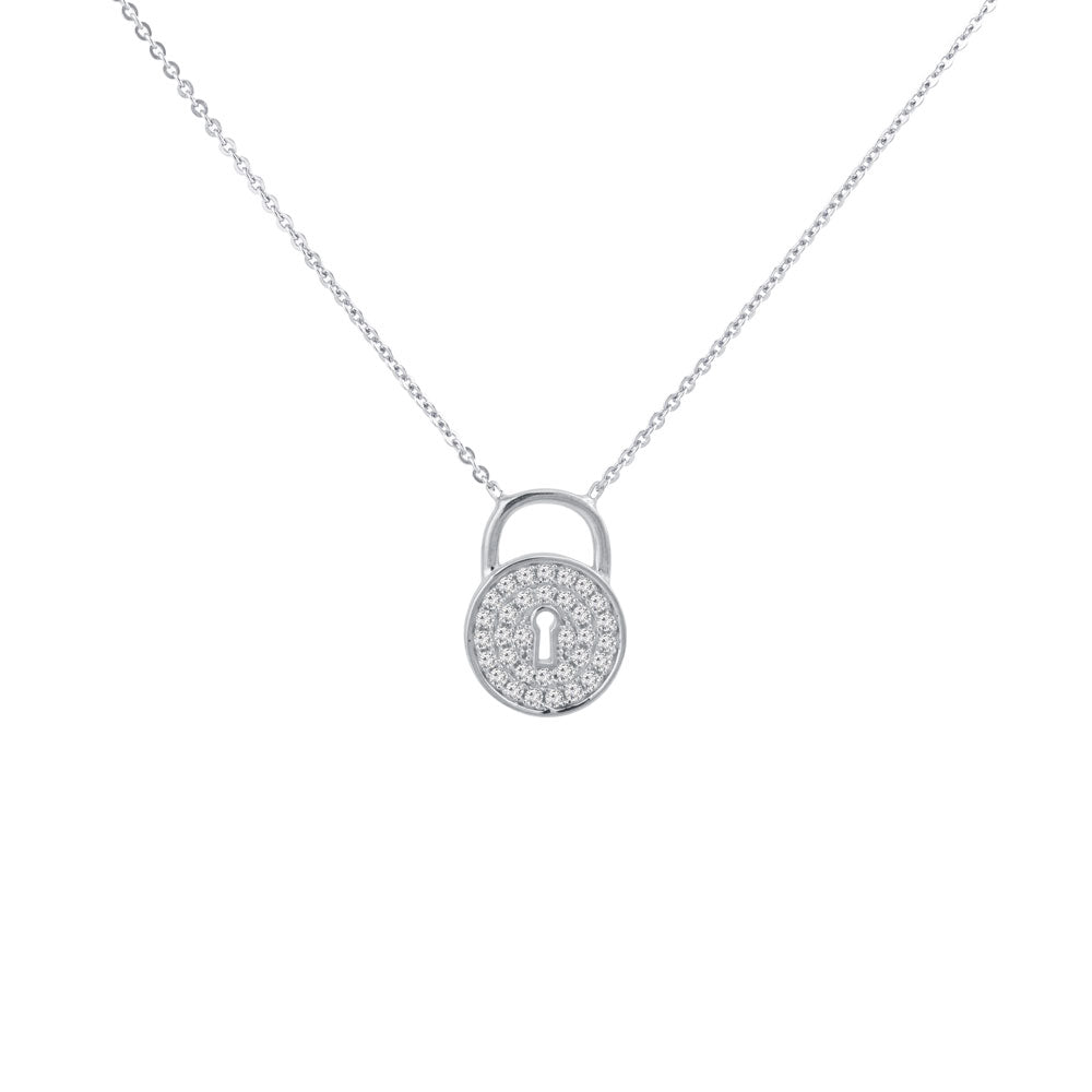Pad Lock Prong-set CZ's  Sterling Silver Pendant Necklace