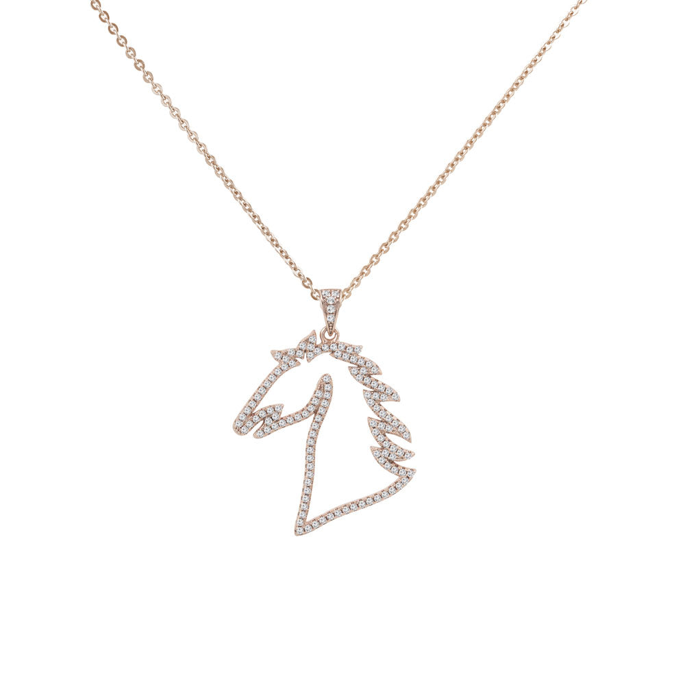 Horse Silhouette Prong-set CZ's 18K Rose Gold over Sterling Silver Pendant Necklace