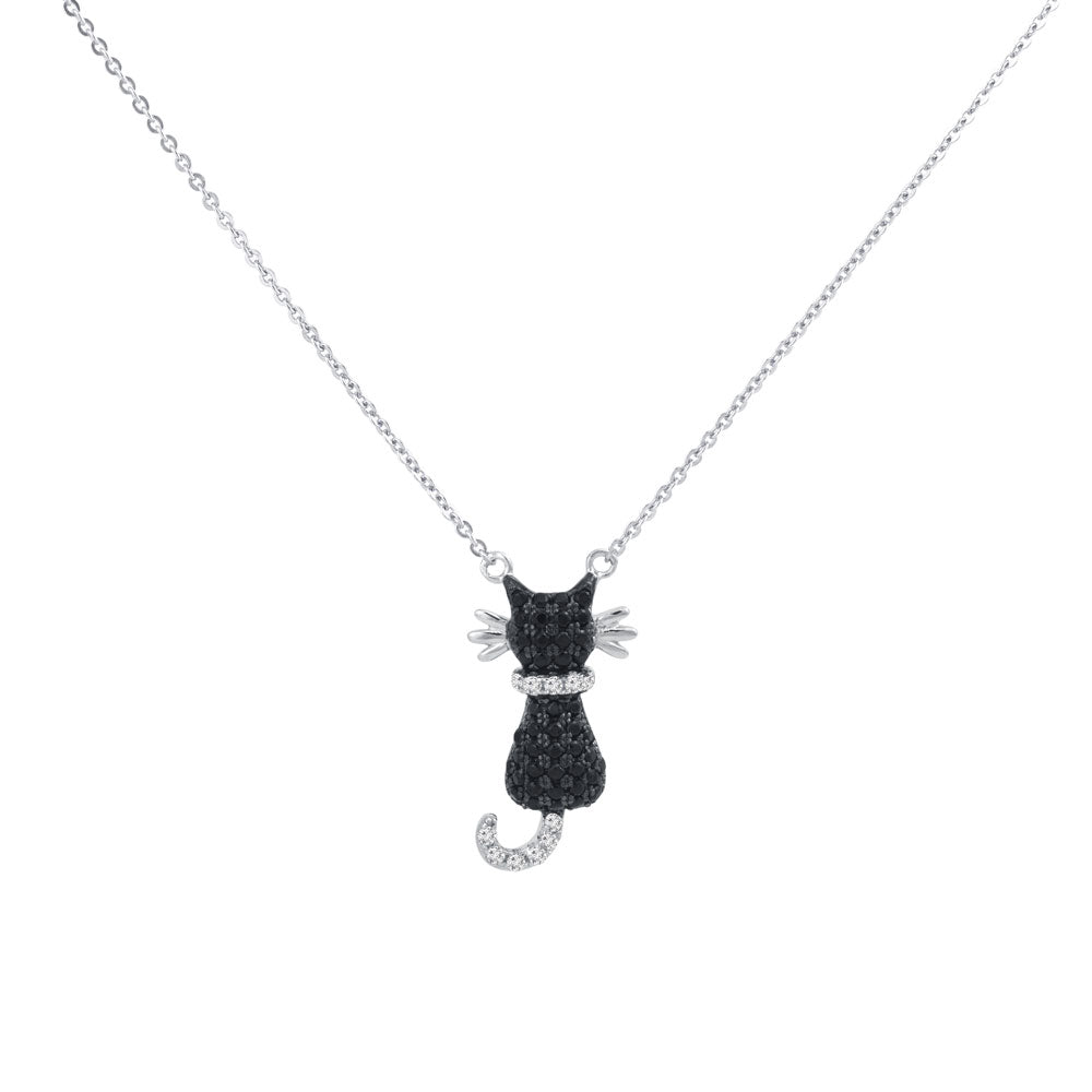 Cat Prong-set CZ's  Sterling Silver Pendant Necklace