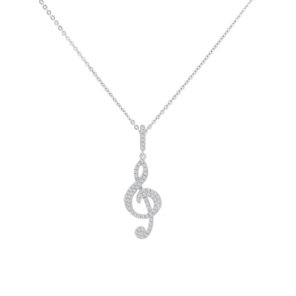 Treble Clef Note Prong-set CZ's Sterling Silver Pendant Necklace