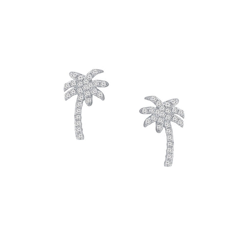 Palm Tree Prong-set CZ's Sterling Silver Post Earrings