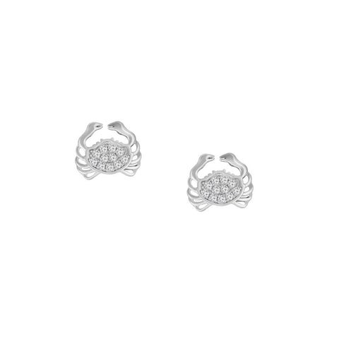 Crab Prong-set CZ's Sterling Silver Post Earrings